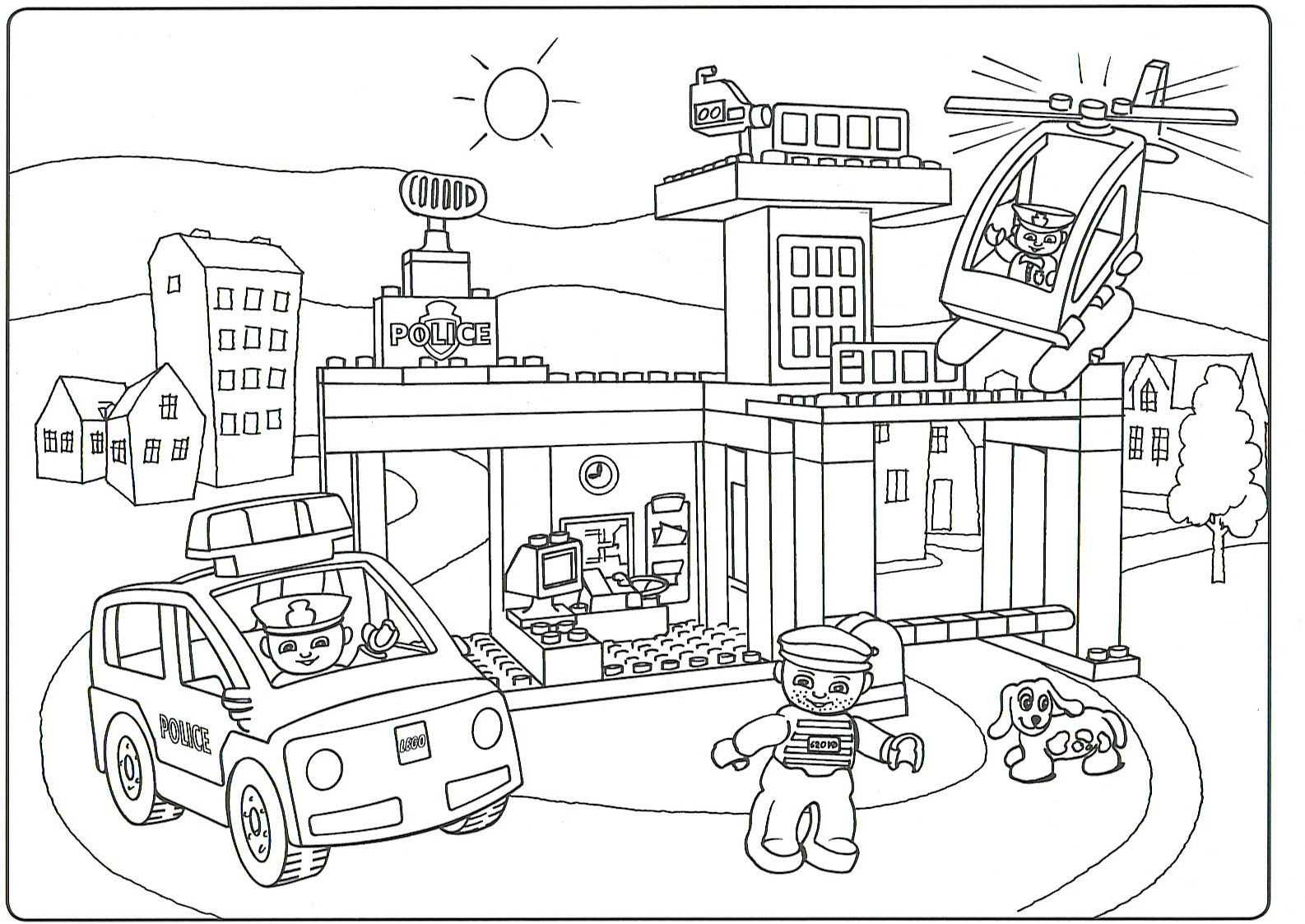 1586x1123 Pioneering Fire Station Coloring Page Lego City Pages