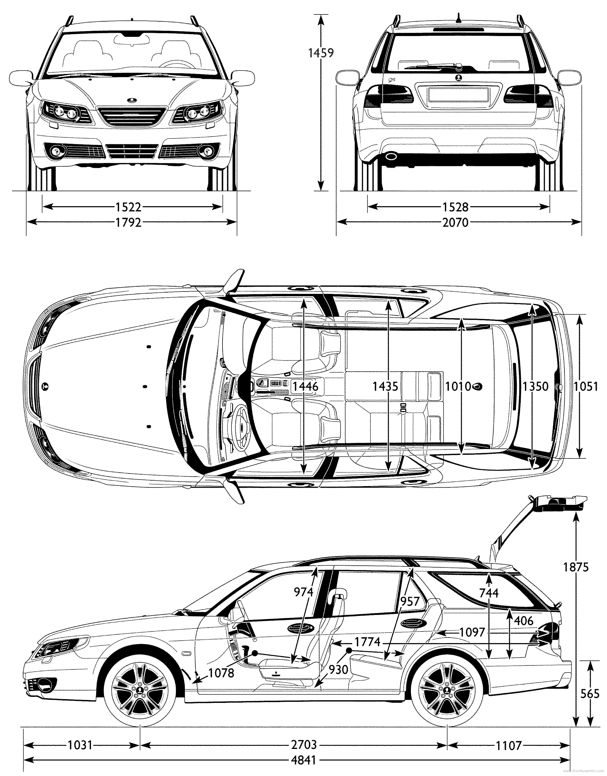 2108x2696 Blueprints Gt Cars Gt Saab Gt Saab 9 5 Station (2007)