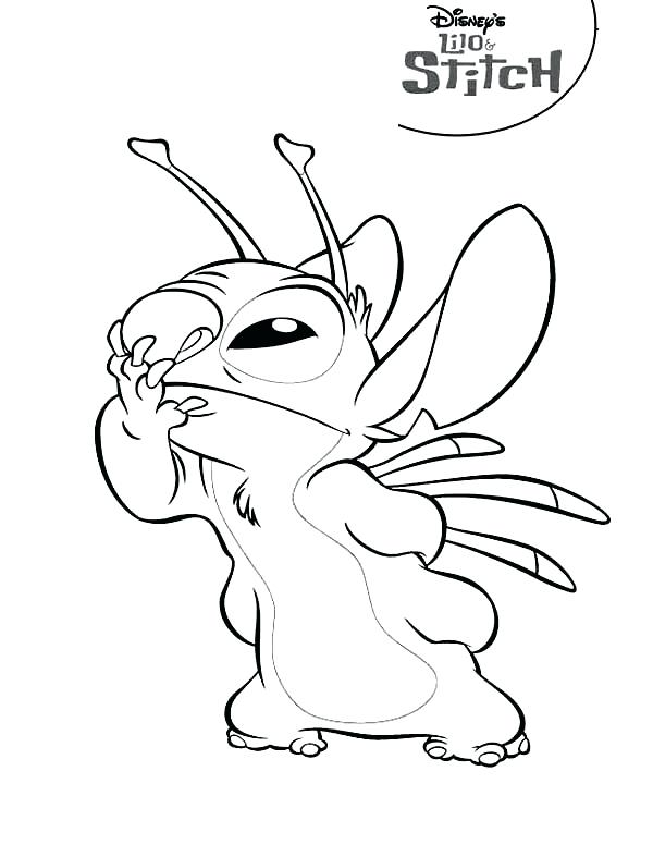 600x776 Stitch Smelling Something Good In Lilo Coloring Page Free