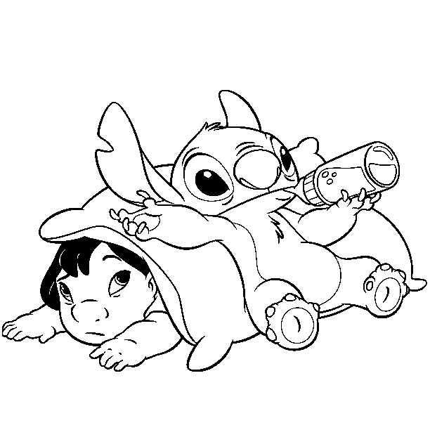 612x622 Disney Coloring Pages To Print Lilo Stitch Within 9