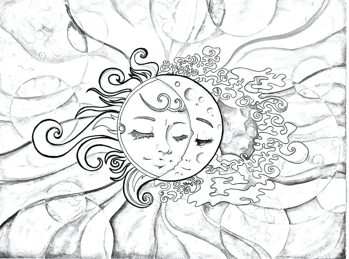 Sun And Moon Drawing Black And White At Getdrawings Com Free For