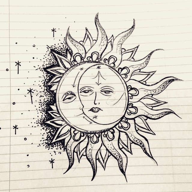 640x640 Collection Of Sun And Moon Pen Drawing High Quality, Free
