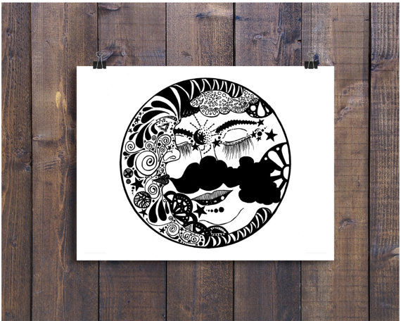 570x456 Black And White Art Pen And Ink Sun And Moon Celestial
