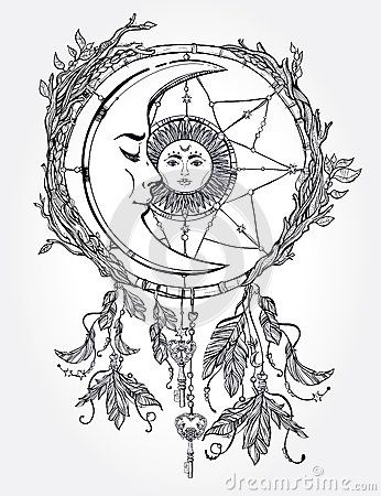 346x450 Dream Catcher Adorned With Sun And Moon Inside. Craft Ideas