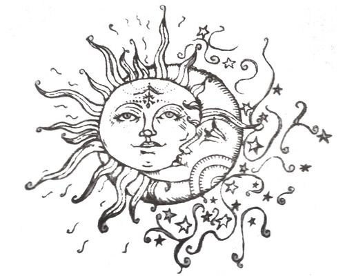 500x400 I'Ve Been Searching For The Perfect Sunmoon Drawing For A Tattoo