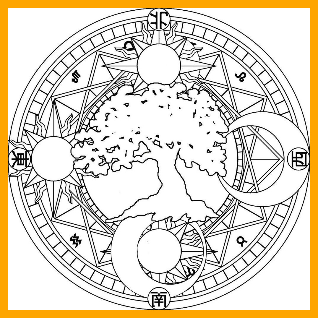 1076x1076 Inspiring Sun And Moon Mandala Coloring Pages Image Of For Adults