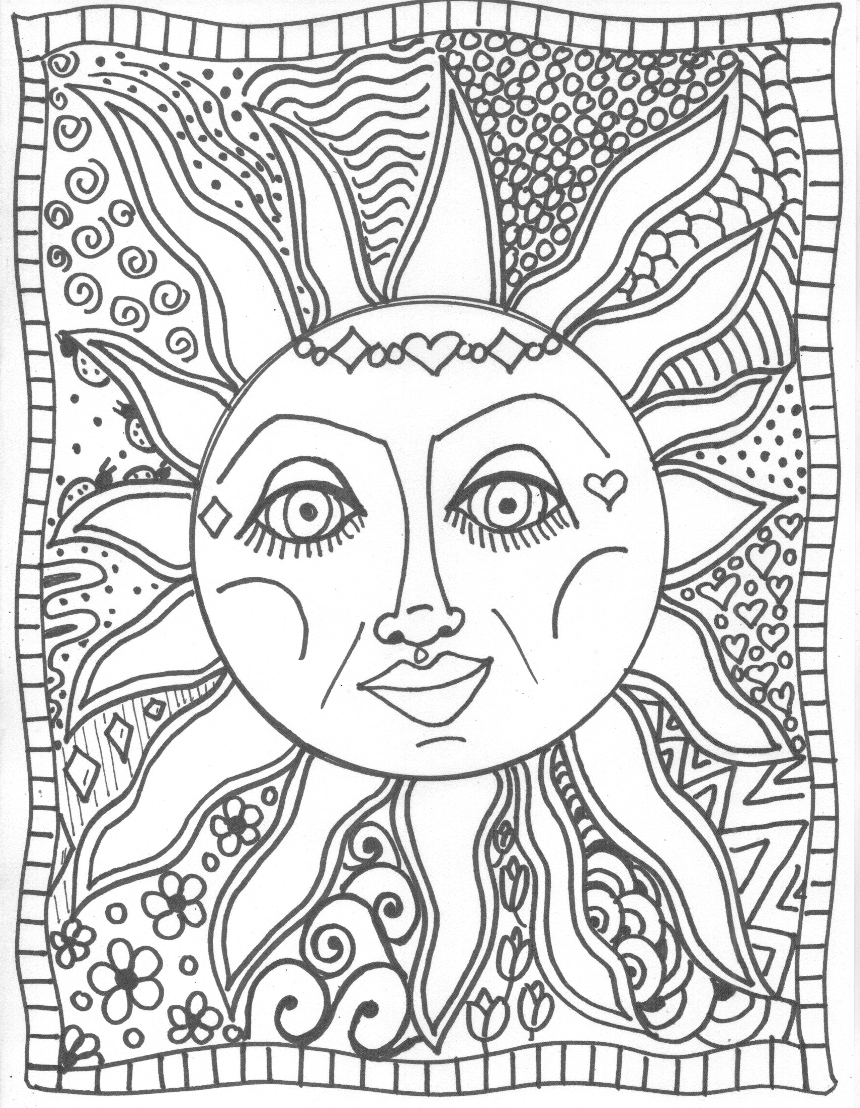 1700x2190 Printable Inside Sun Moon Coloring Pages Heart