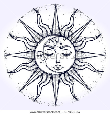 450x470 Collection Of Sun And Moon Face Drawing High Quality, Free