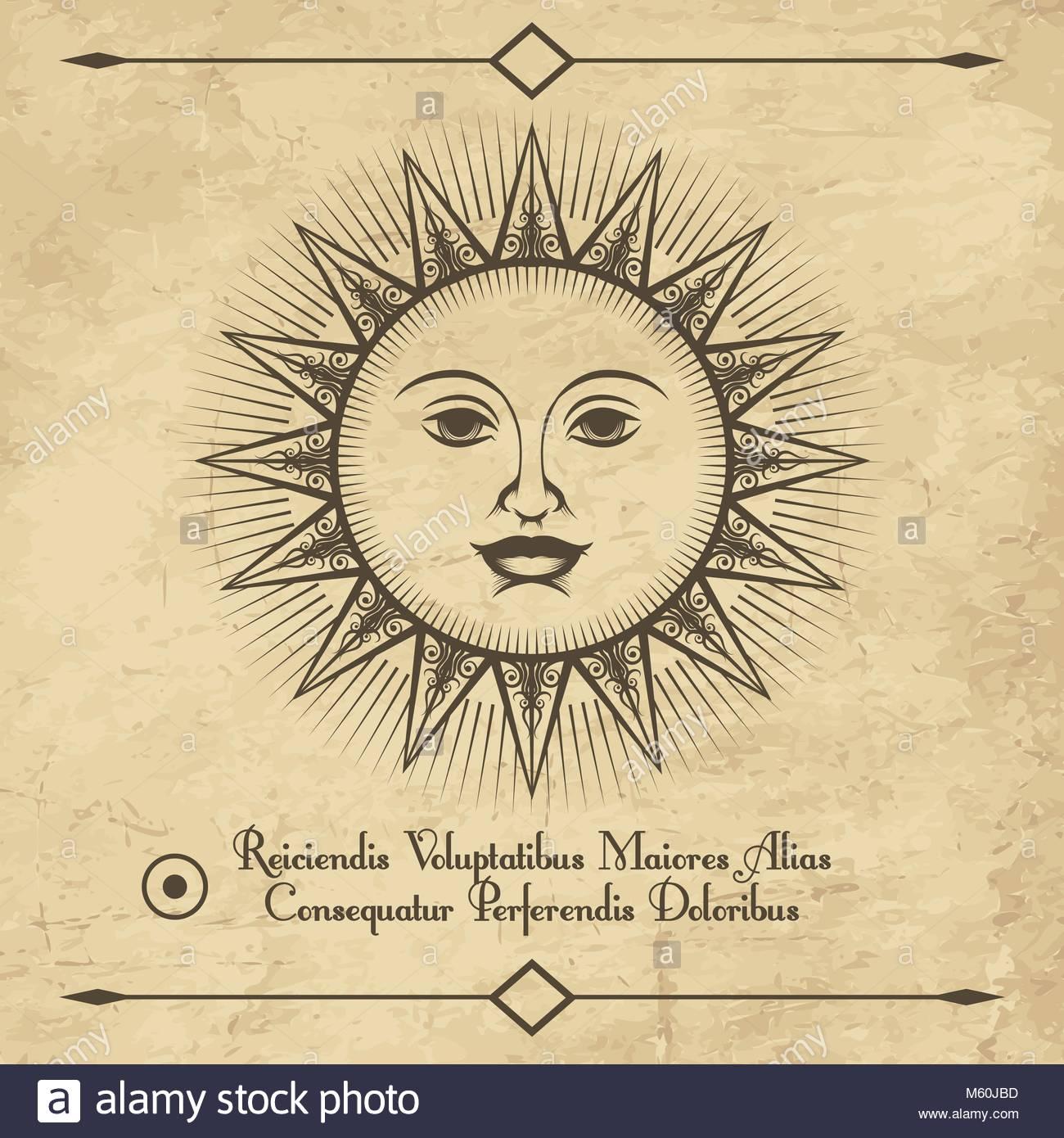 1300x1390 Sun Retro Emblem. Vintage Antique Drawing Sun Face Sketch, Old