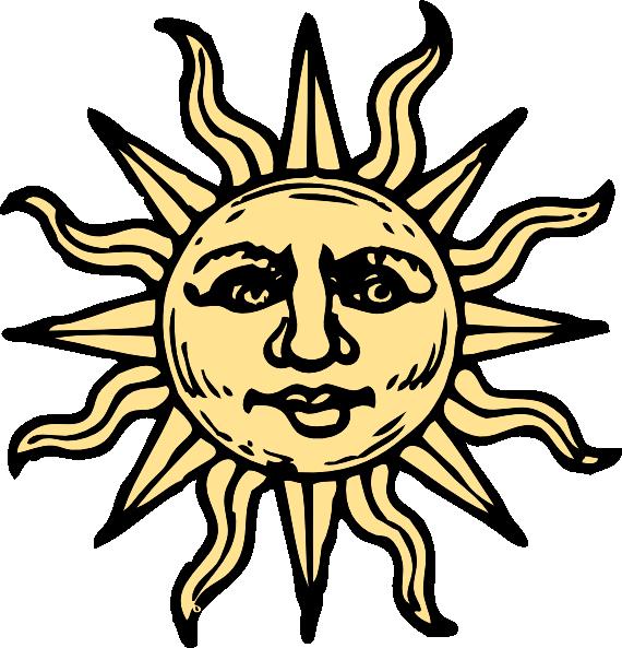 570x593 Sun Drawings Sun Woodcut Clip Art