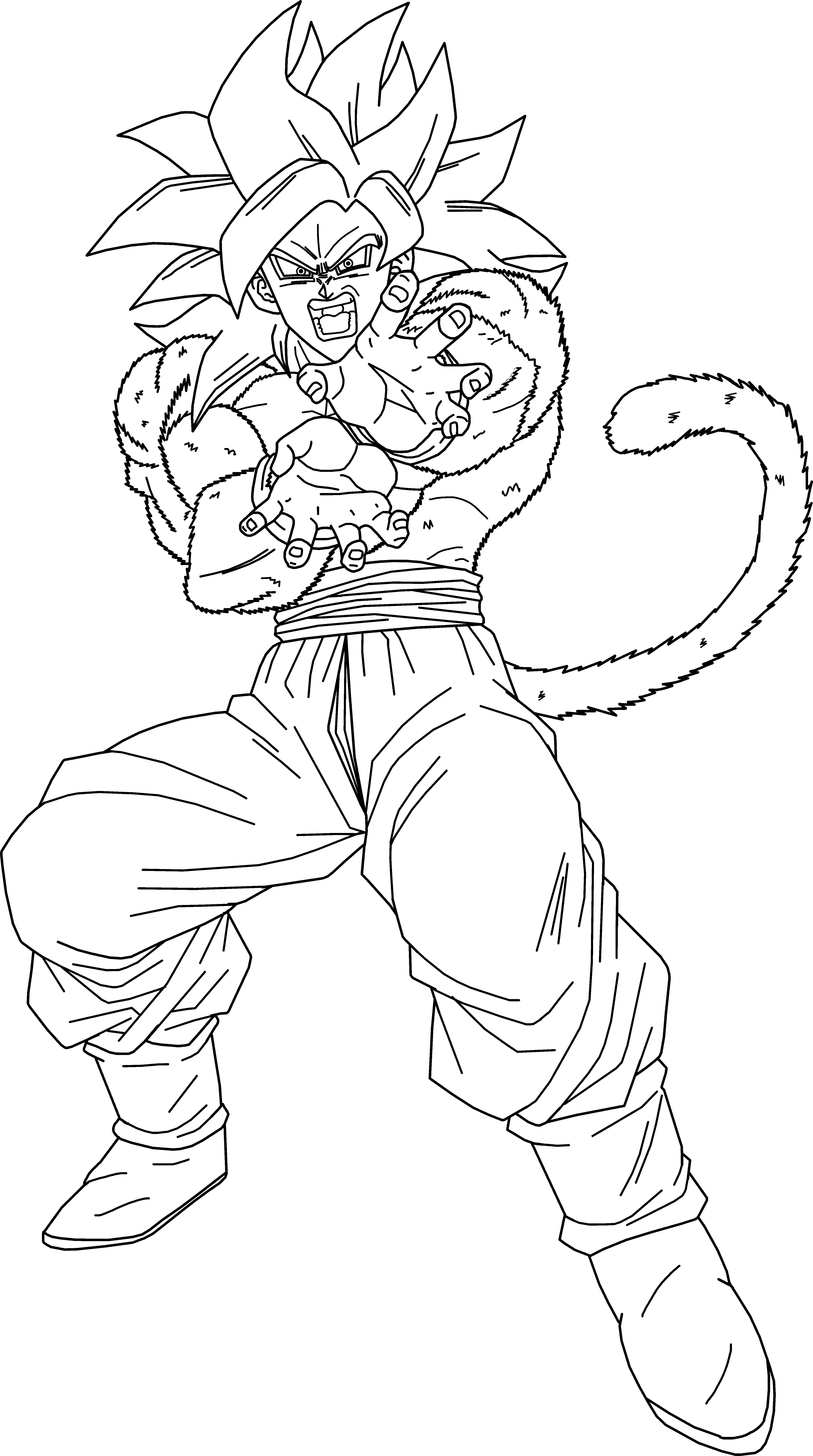 4303x7705 How To Draw Goku Super Saiyan 4 Ssj4 Youtube Cool Drawings