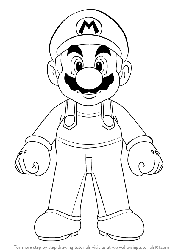 598x844 Learn How To Draw Mario From Super Mario (Super Mario) Step By
