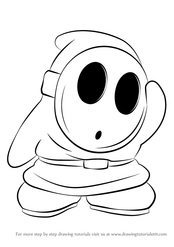 599x846 Learn How To Draw Shy Guy From Super Mario (Super Mario) Step By