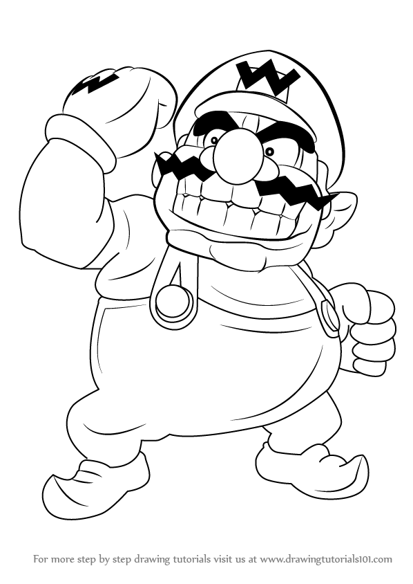 598x844 Learn How To Draw Wario From Super Mario (Super Mario) Step By