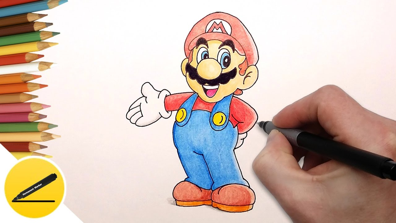 1280x720 How To Draw Super Mario Step By Step (Nintendo Games)