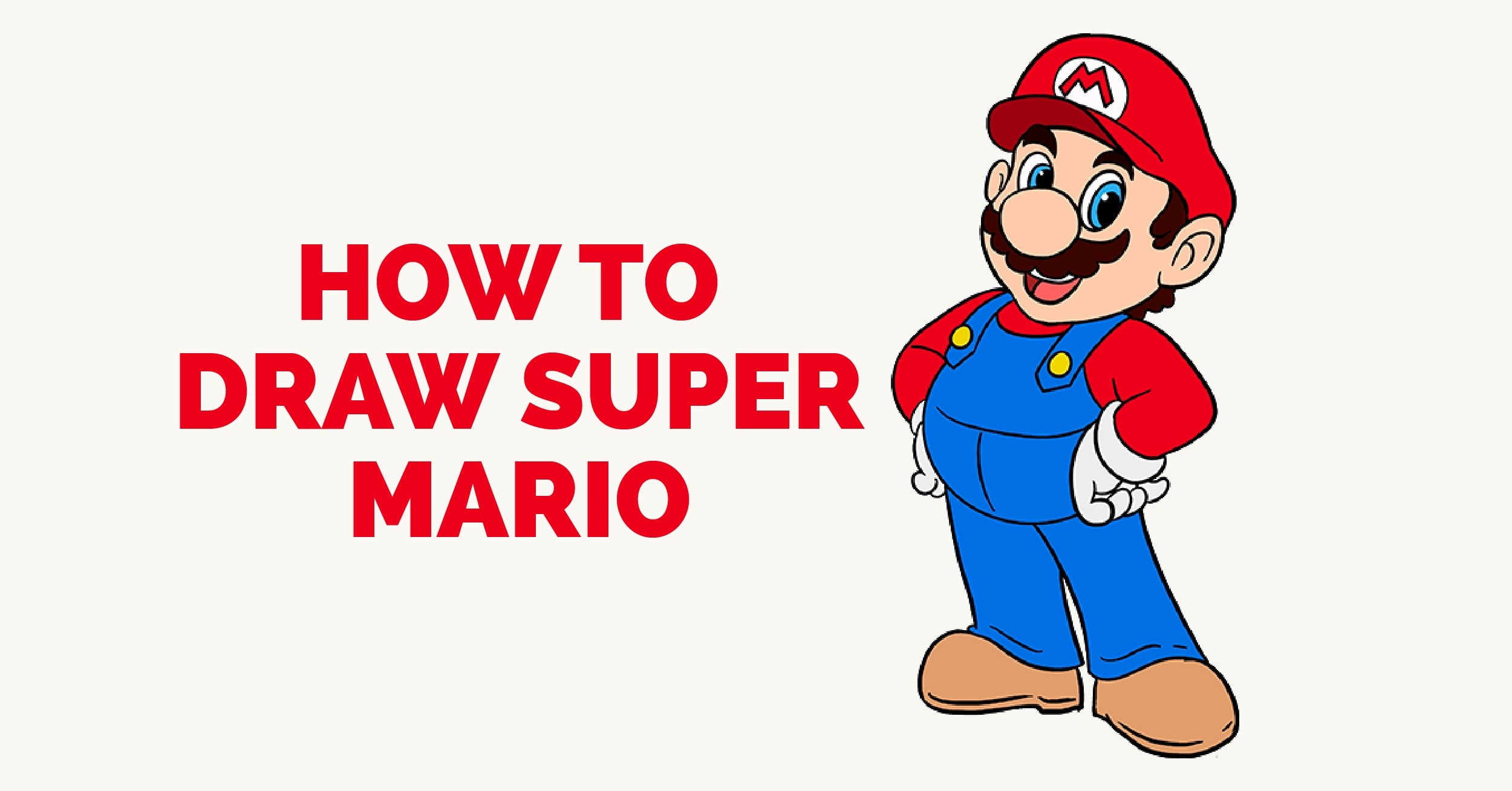 2500x1308 How To Draw Super Mario In A Few Easy Steps Easy Drawing Guides
