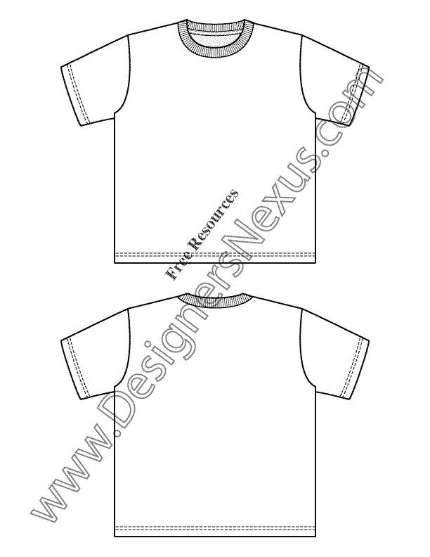 612x792 V28 Childrens T Shirt Template Flat Fashion Sketch