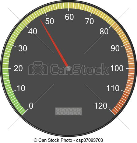 450x470 Speedometer Or Tachometer With Arrow. Colorful Vector Vector