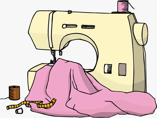 650x488 Cartoon Hand Drawing Sewing Machine, Tailor, Sewing Machine