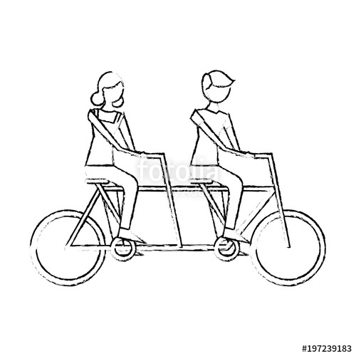 500x500 Cute Happy Couple Riding In Tandem Bike Recreation Vector