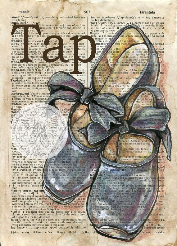 570x790 Print Tap Shoes Mixed Media Drawing On Antique Dictionary Page