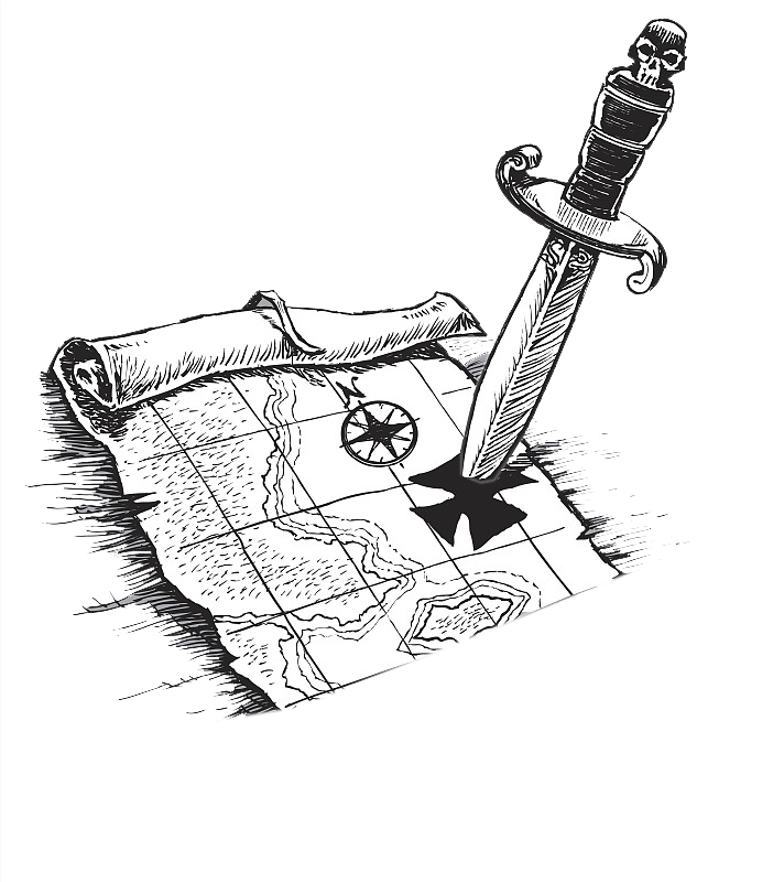 712x800 Piracy Treasure Map Drawing Illustration