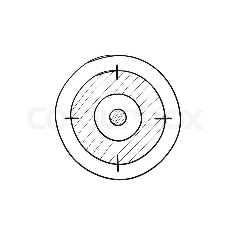 800x800 Target Board Vector Sketch Icon Isolated On Background. Hand Drawn