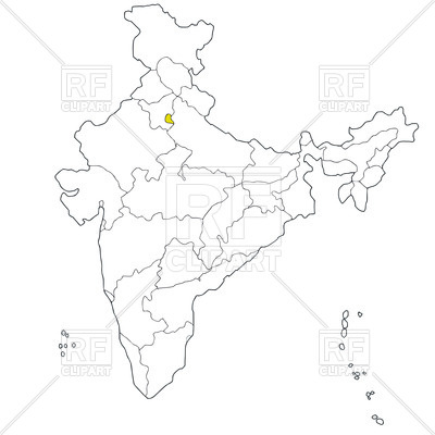 400x400 Union Territory Delhi On The Map Of India Vector Image Vector