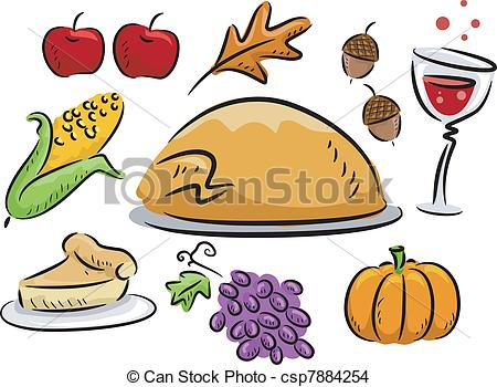 450x350 Collection Of Thanksgiving Food Drawing High Quality, Free