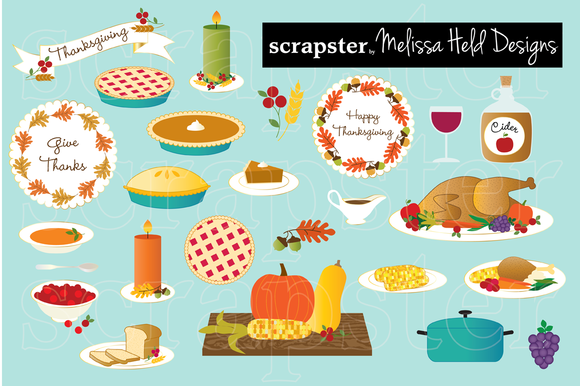 580x386 Thanksgiving Food Clipart By Scrapster On Creative Market Fav
