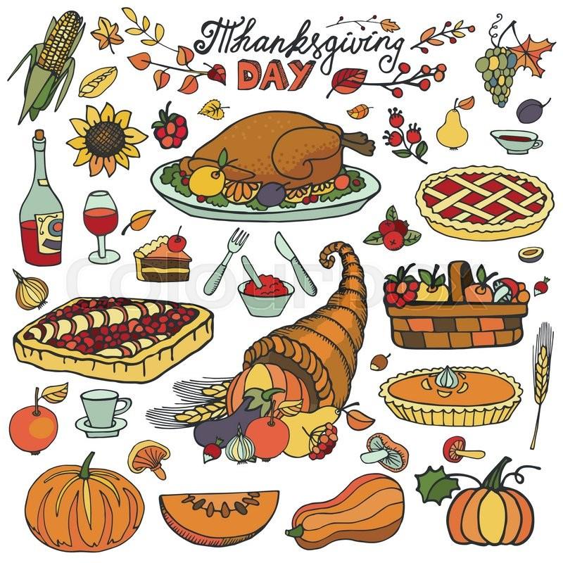 800x800 Thanksgiving Day Icons,doodle Food Set.autumn Harvest Decor