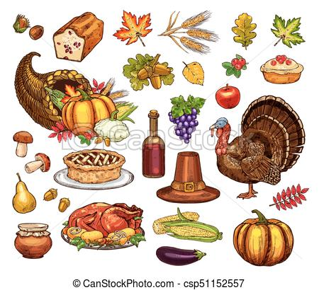 450x410 Thanksgiving Day Isolated Vector Icons Set. Thanksgiving