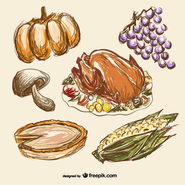 626x626 Thanksgiving Food Drawings Vector Free Download