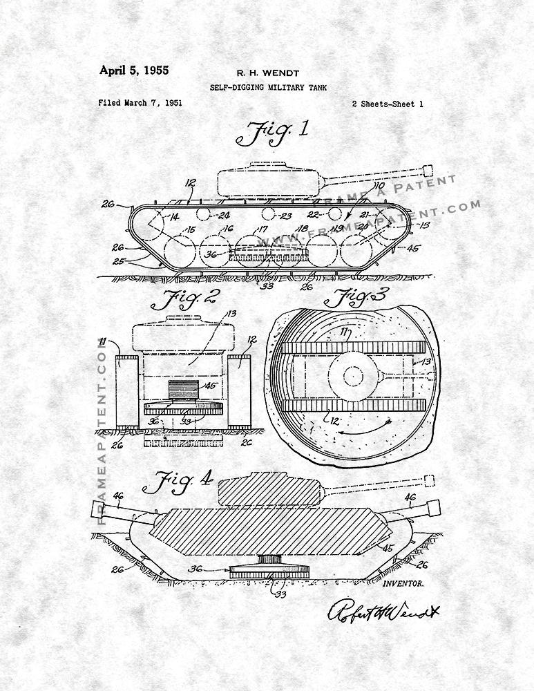 773x1000 Self Digging Military Tank Patent Print Poster Item 11222 Frame