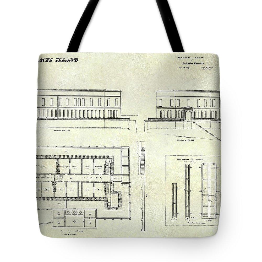 1000x1000 Alcatraz Defensive Barracks Drawing 1859 Tote Bag For Sale By Jon