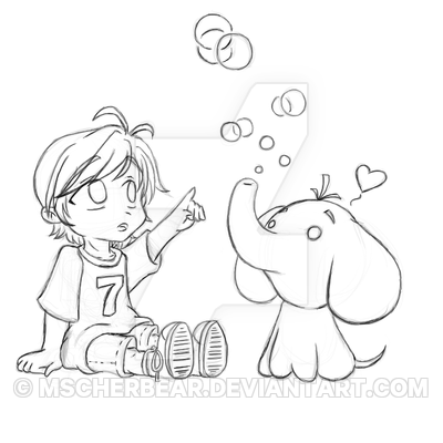 400x400 Art Trade Chibi Boy + Elephant Sketch By Mscherbear