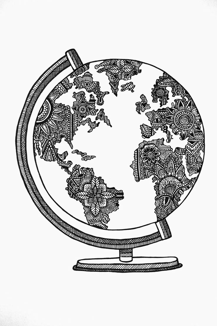 736x1107 Collection Of Tumblr Globe Drawing High Quality, Free