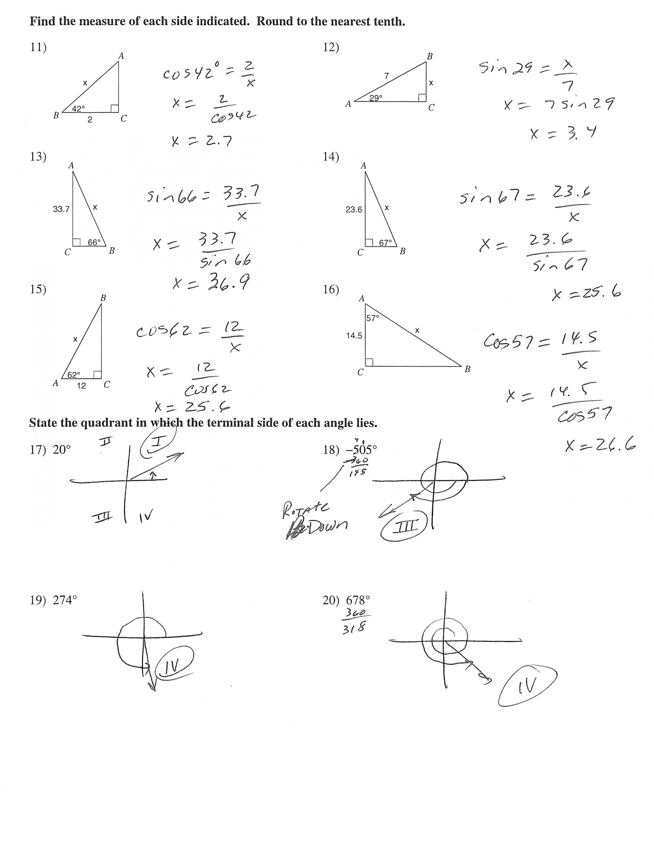 2168x2805 Worksheet Right Triangle Trigonometry Worksheet With Answers
