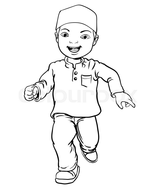 667x800 Hand Drawing Happy Muslim Boy Make Running. Brown Trousers, Yellow