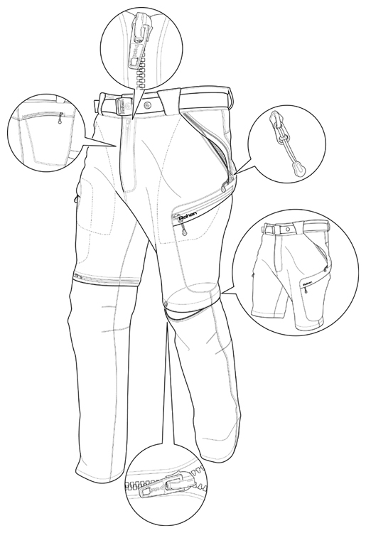 515x750 Line Drawing Of Outdoor Trousers
