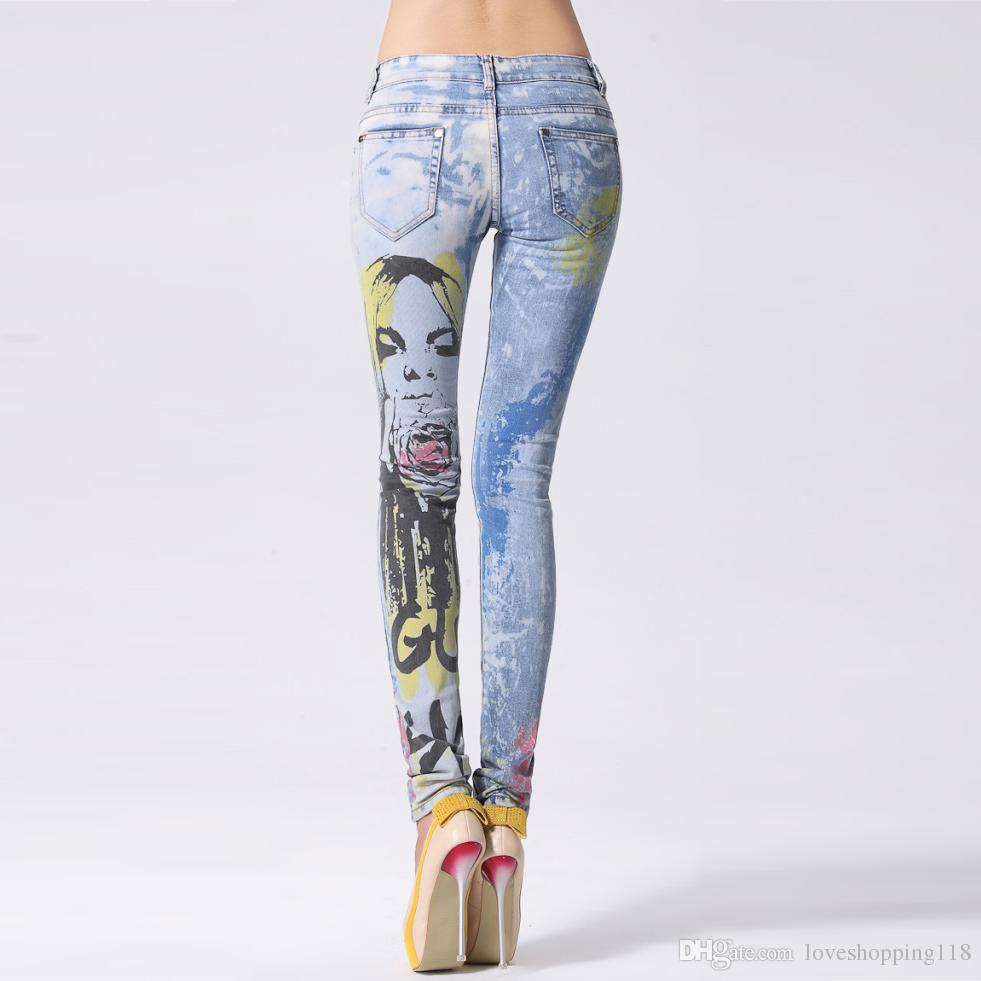981x981 2018 Women's Beauty Drawing Printed Skinny Jeans Fashion Painted