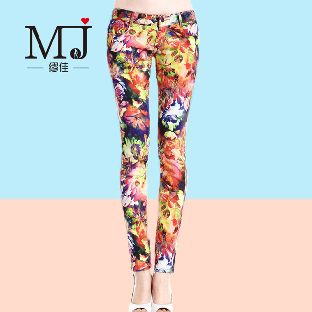 640x640 Candy Color Pencil Pants Colored Drawing Print Jeans Trousers