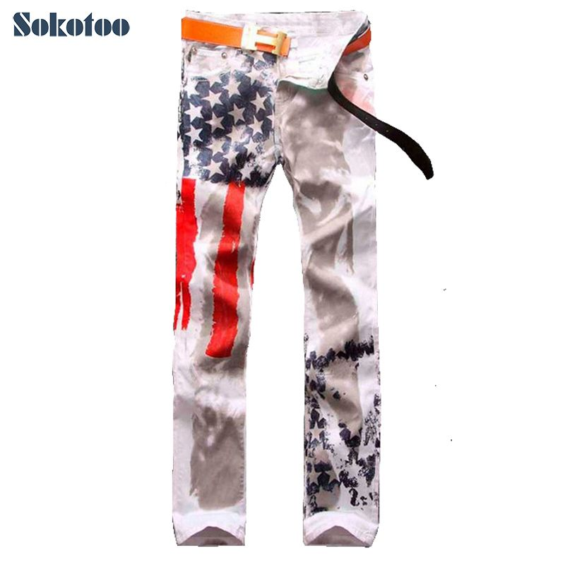 800x800 Sokotoo Cool Men's Straight Slim Colored Drawing Pants American