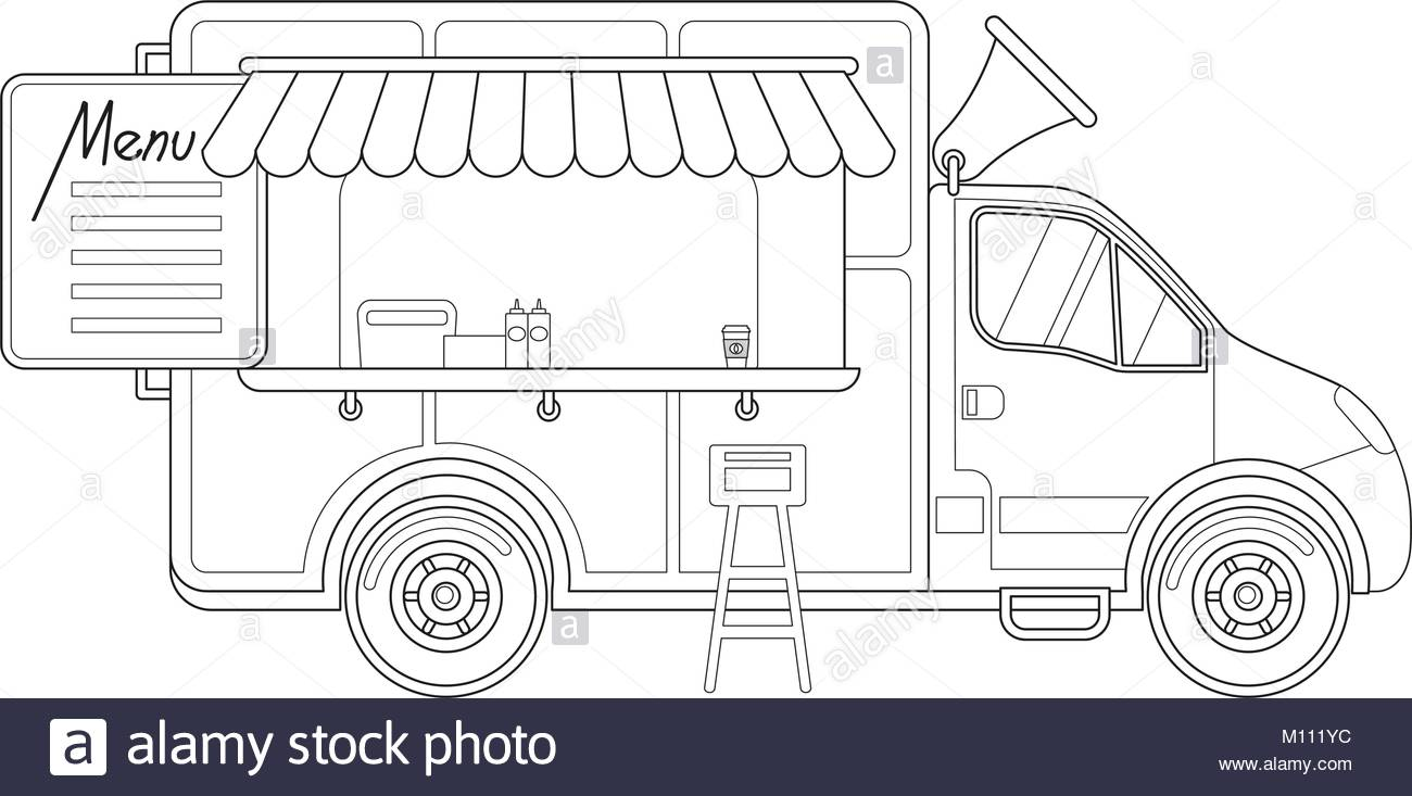 1300x733 Black And White Delivery Truck Side View Menu Coffee Chair Poster