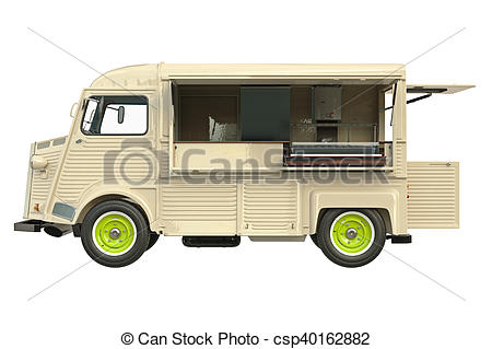 450x319 Food Truck Eatery, Side View. Food Truck Beige Eatery