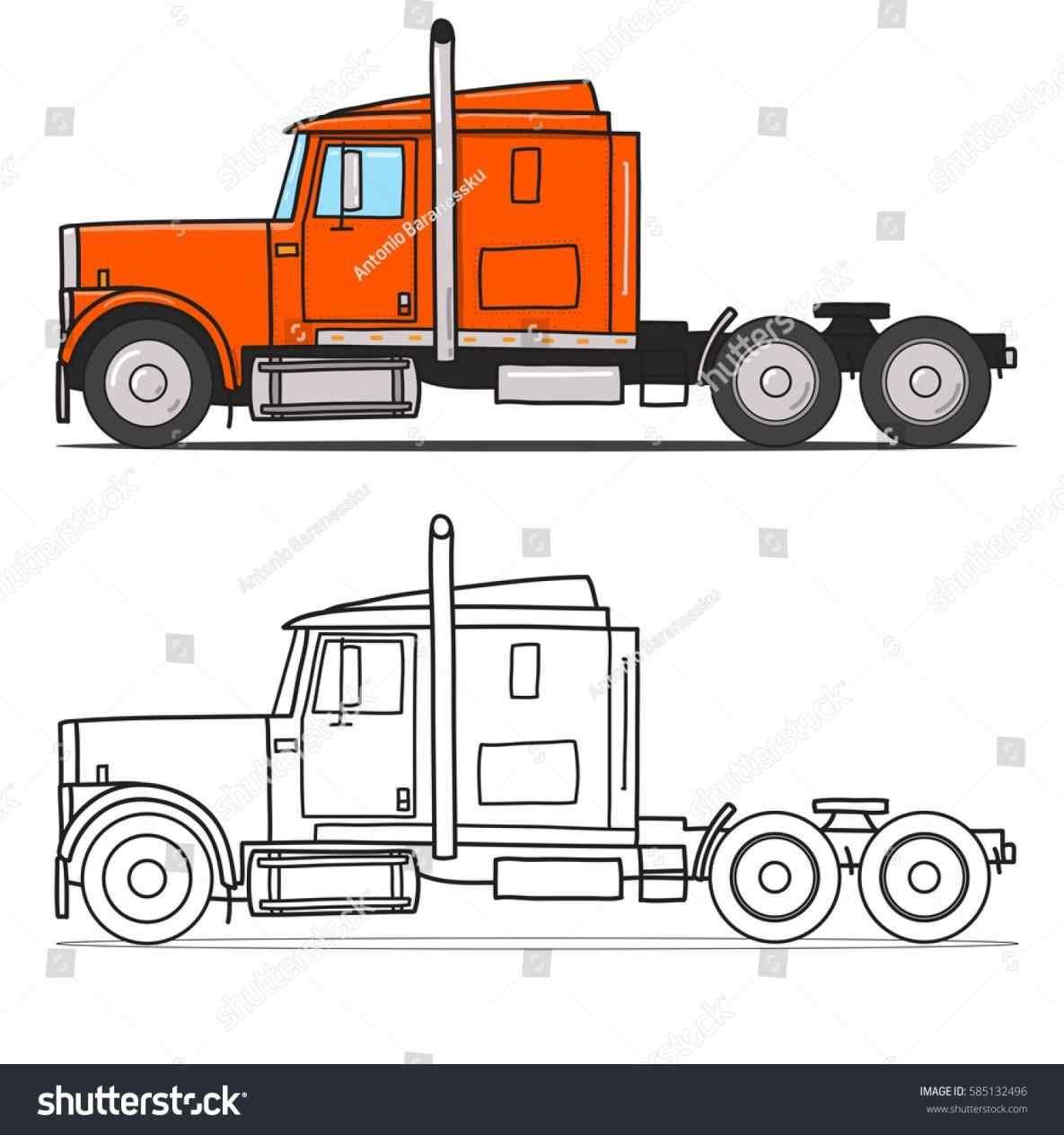 1185x1264 Semi Truck Side View Outline Truckindo.win