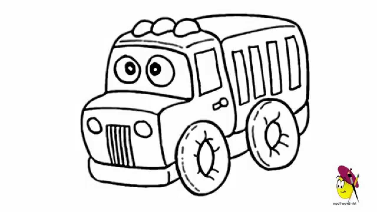 1280x720 Drawing Of Cartoon Trucks