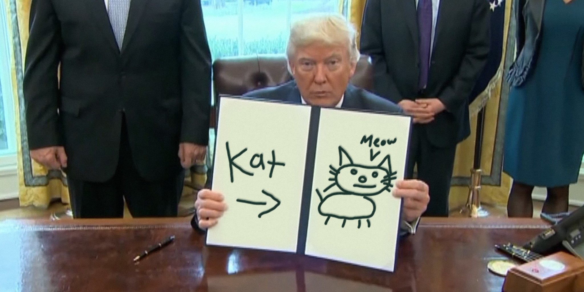 2048x1024 Trump Draws' Hilariously Mocks President Signing Executive Orders