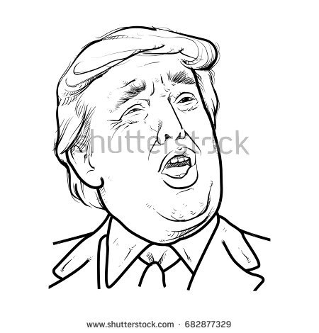 450x470 Collection Of Donald Trump President Drawing High Quality