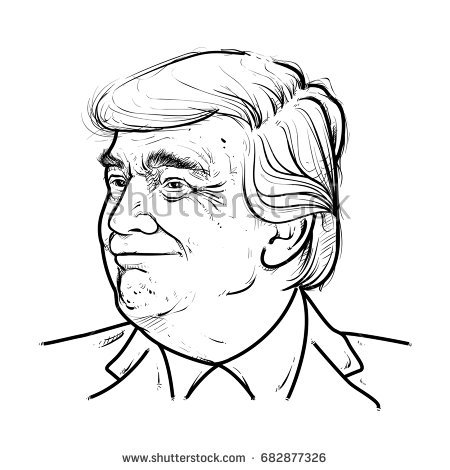 450x470 Collection Of President Trump Drawing High Quality, Free